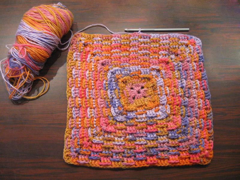 How To Make A Woven Yarn Basket : Crochet basket weave granny square tutorial the club