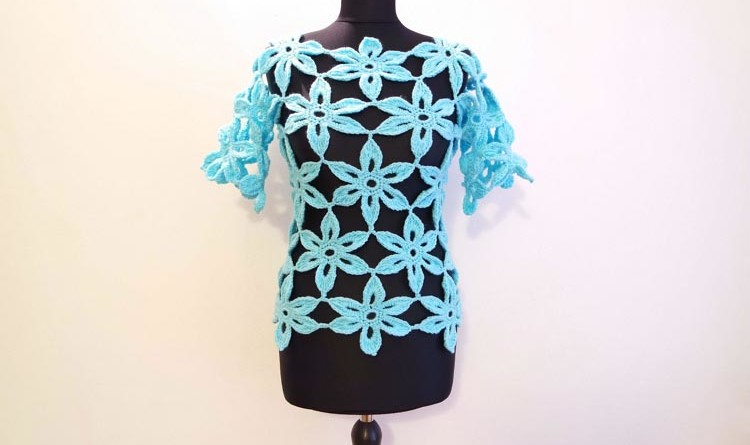 Crochet a Flower Tunic Top Sweater